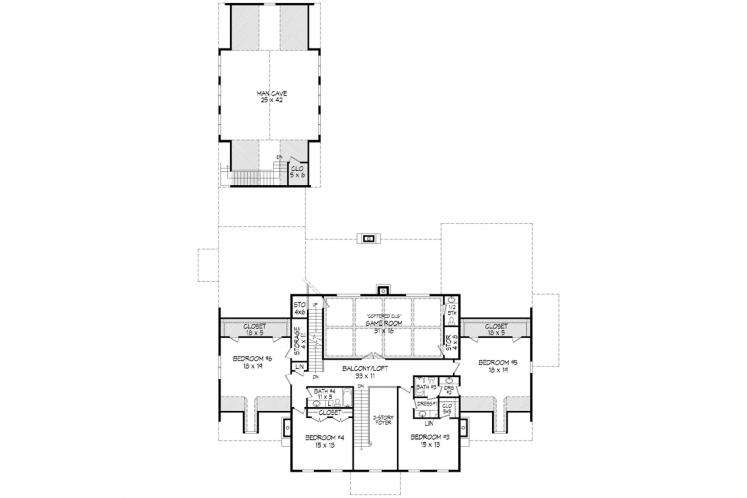 Colonial House Plan -  61583 - 2nd Floor Plan