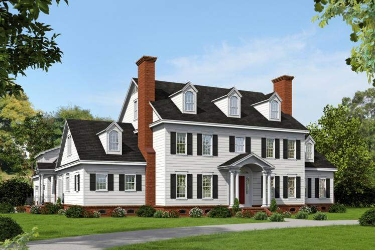 Colonial House Plan -  61583 - Front Exterior