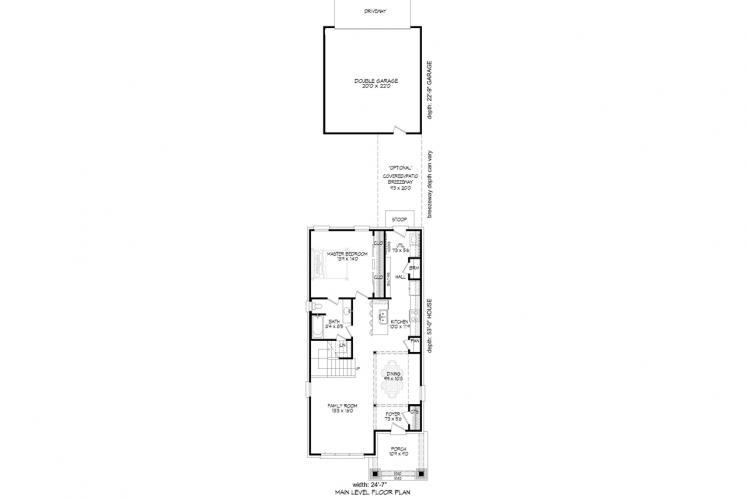 Traditional House Plan -  61599 - 1st Floor Plan