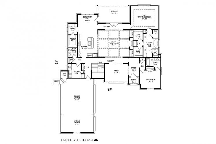 Classic House Plan -  61643 - 1st Floor Plan