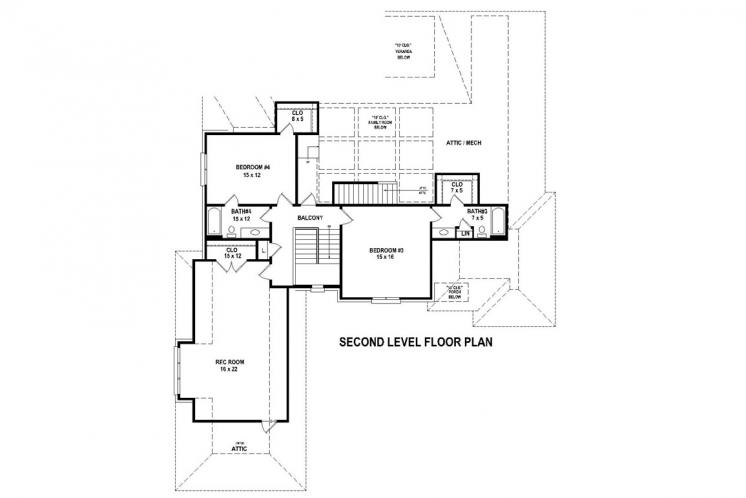 Southern House Plan -  61643 - 2nd Floor Plan