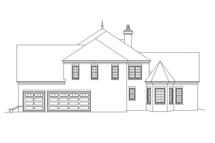 European House Plan -  61671 - Right Exterior