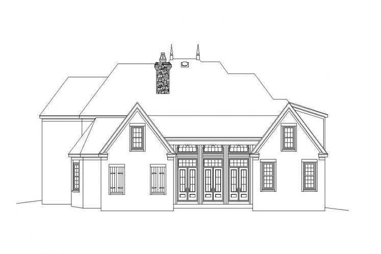 European House Plan -  61671 - Rear Exterior