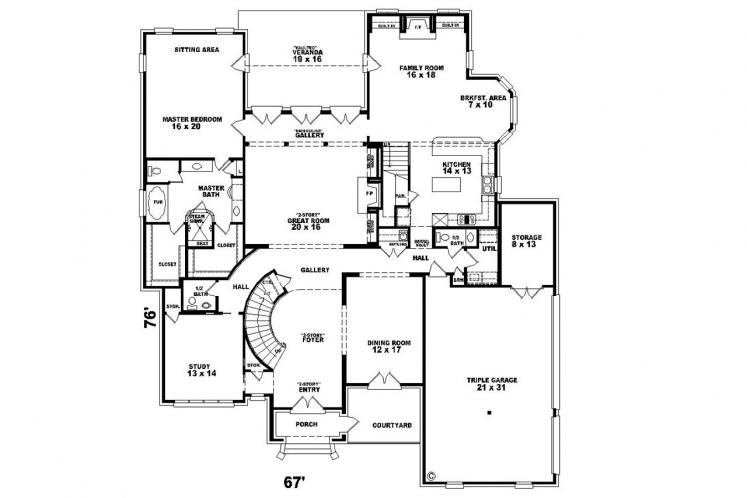 Classic House Plan -  61671 - 1st Floor Plan