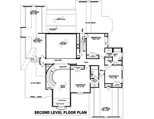 European House Plan -  61671 - 2nd Floor Plan