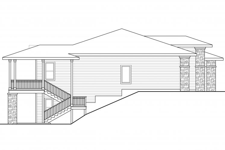 Prairie House Plan - Hood River 61734 - Left Exterior