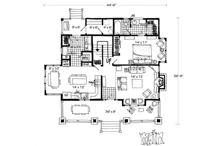 Bungalow House Plan - Aspen Grove 61931 - 1st Floor Plan