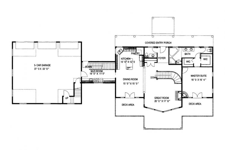 Lodge Style House Plan -  61989 - 1st Floor Plan