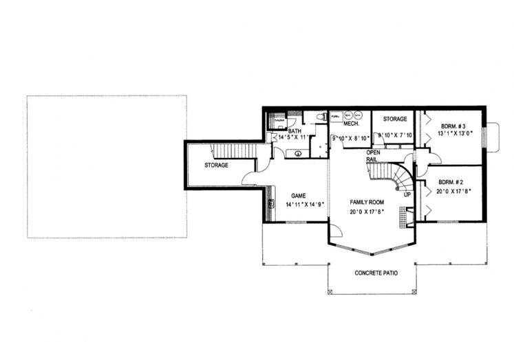 Craftsman House Plan -  61989 - Basement Floor Plan