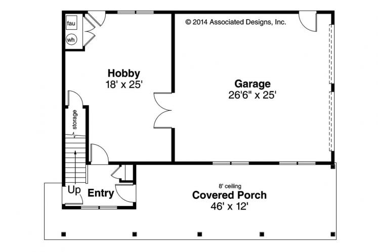 Craftsman Garage Plan -  62272 - 1st Floor Plan