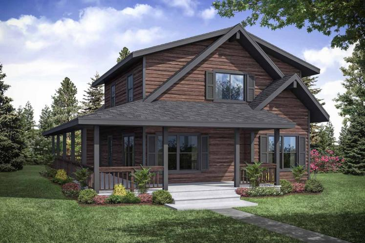 Lodge Style House Plan - Logsden 62416 - Front Exterior