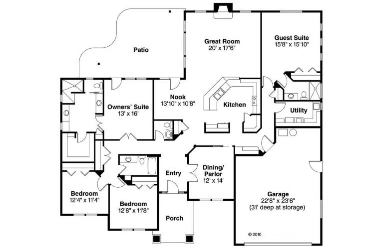 Southwest House Plan - Crownpoint 62509 - 1st Floor Plan