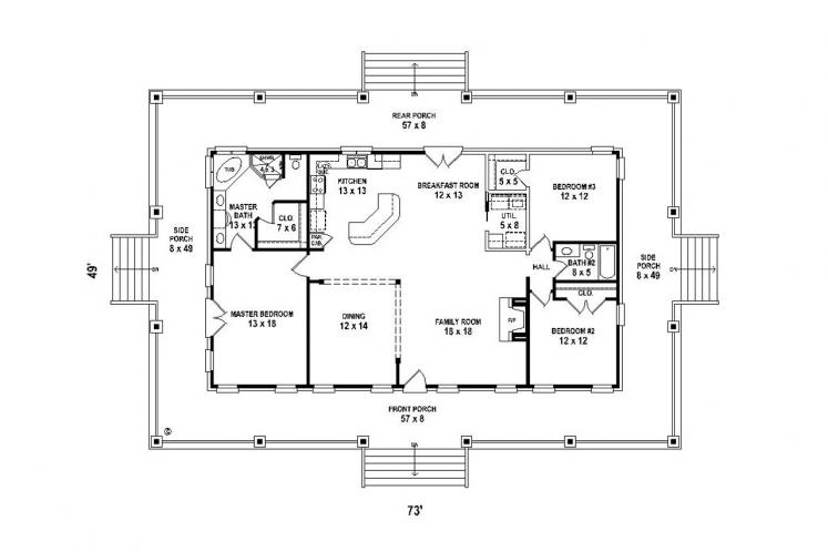 Farmhouse House Plan -  62562 - 1st Floor Plan