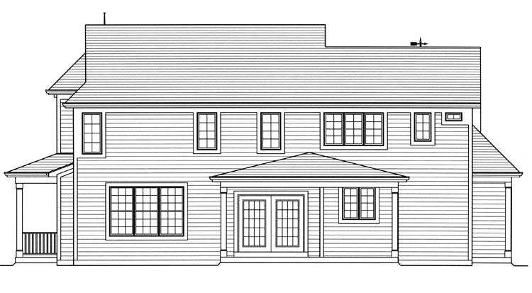 Colonial House Plan - Clarise  62916 - Rear Exterior