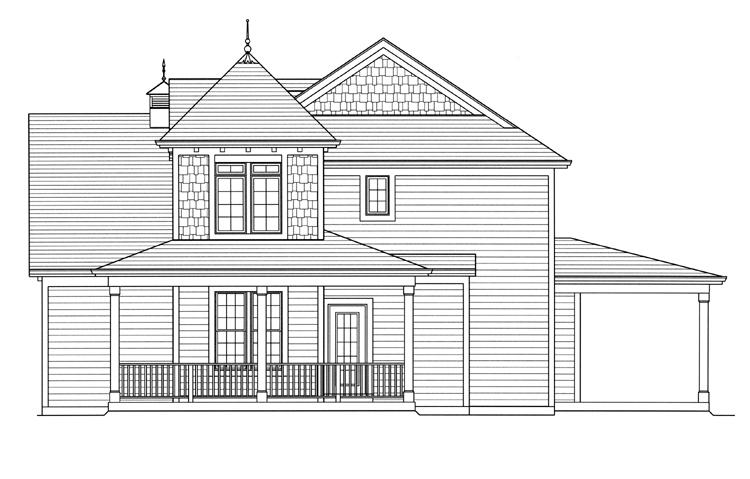 Traditional House Plan - Clarise  62916 - Right Exterior
