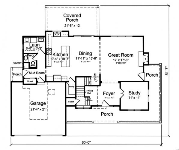 Colonial House Plan - Clarise  62916 - 1st Floor Plan