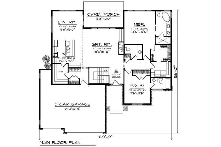 Modern House Plan -  63391 - 1st Floor Plan