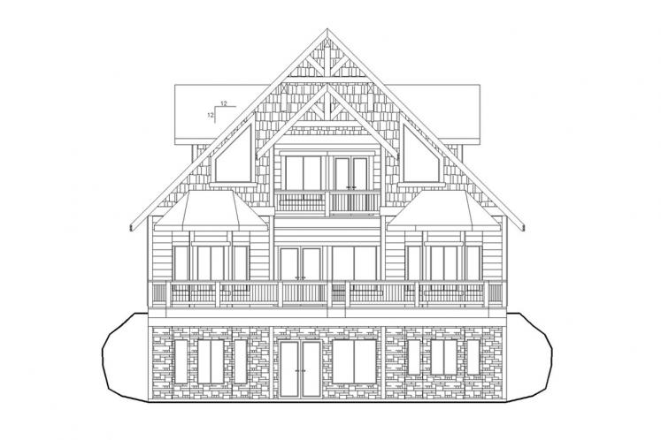 Lodge Style House Plan -  63426 - Rear Exterior