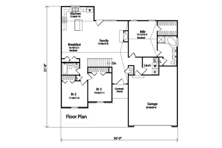 Traditional House Plan -  63508 - 1st Floor Plan