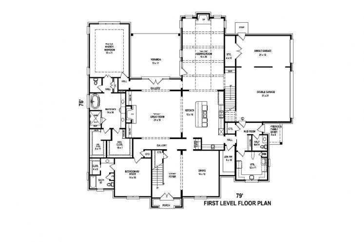 European House Plan -  63536 - 1st Floor Plan