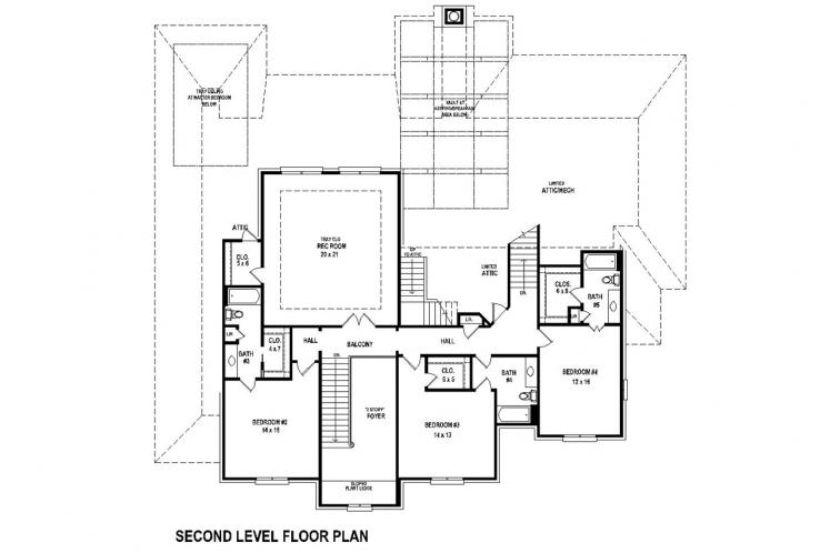 Southern House Plan -  63536 - 2nd Floor Plan
