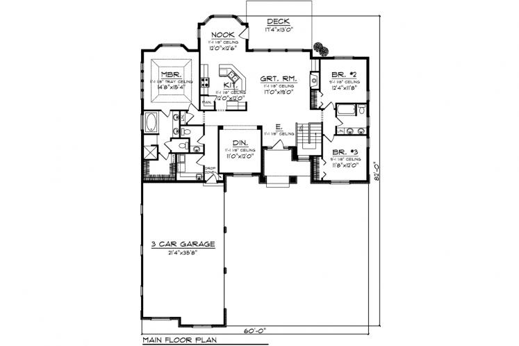 Traditional House Plan -  63613 - 1st Floor Plan