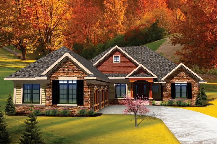 Ranch House Plan -  63613 - Front Exterior