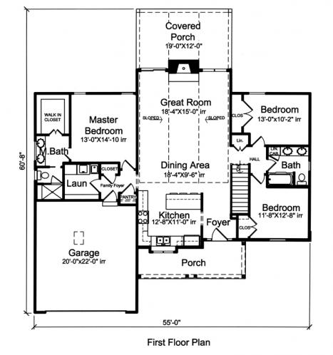 Country House Plan - Eagle's View 63629 - 1st Floor Plan