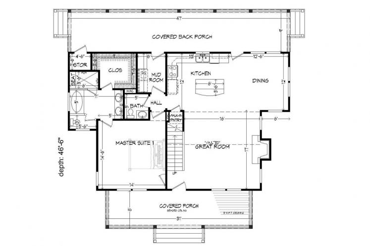 Cottage House Plan -  63729 - 1st Floor Plan