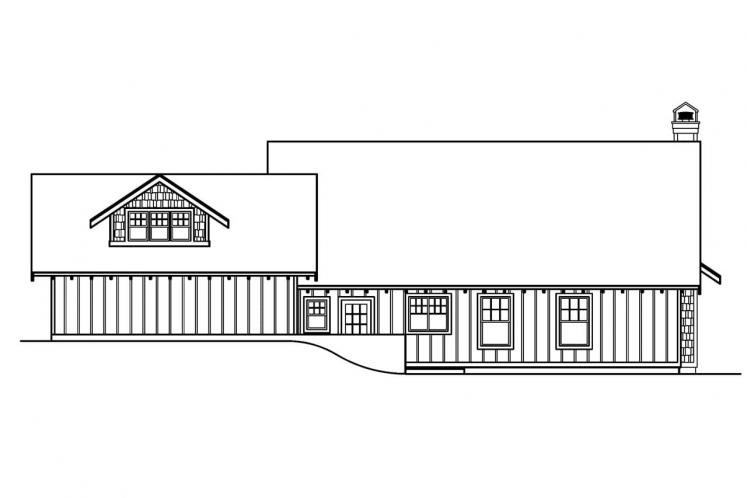 Bungalow House Plan - Carrington 63769 - Rear Exterior