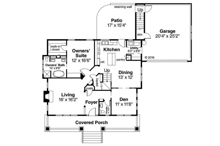 Bungalow House Plan - Carrington 63769 - 1st Floor Plan