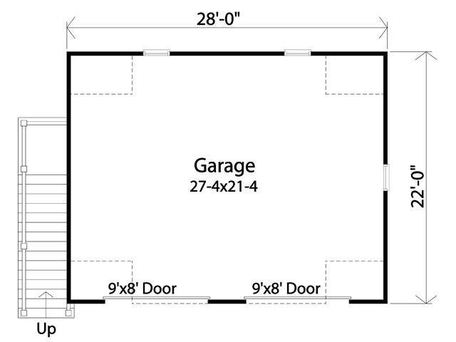 Traditional Garage Plan -  63840 - 1st Floor Plan