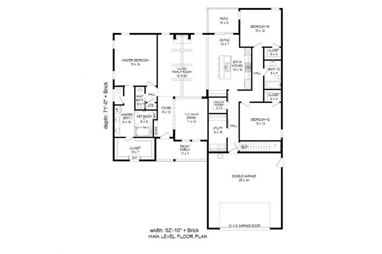 Traditional House Plan - Victor Pass 63966 - 1st Floor Plan