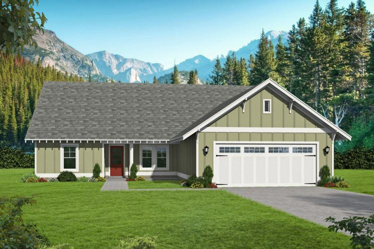 Ranch House Plan - Victor Pass 63966 - Front Exterior