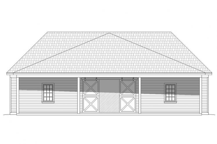 Country Garage Plan -  64172 - Rear Exterior