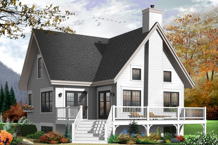 A-Frame House Plan - Lilly 64175 - Rear Exterior
