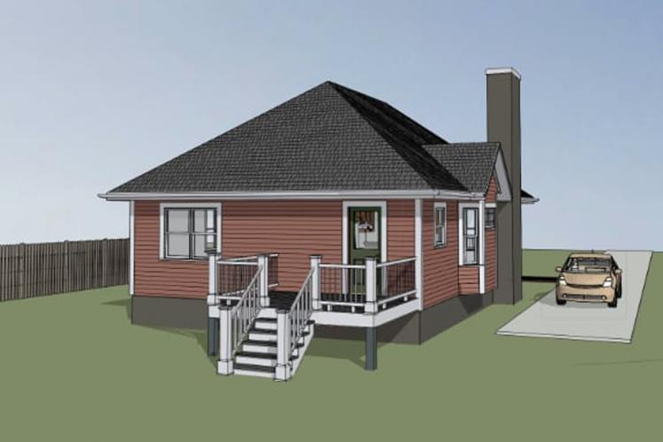 Country House Plan -  64187 - Left Exterior