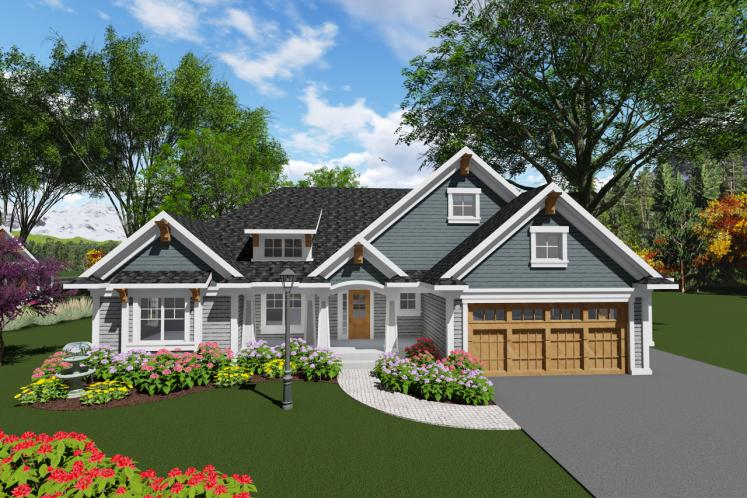 Ranch House Plan -  64234 - Front Exterior