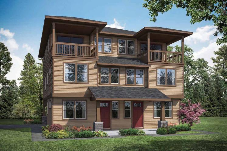 Traditional Multi-family Plan - Dalian 64296 - Front Exterior