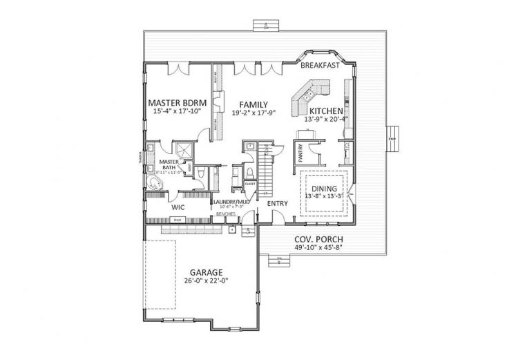 Traditional House Plan - Efland 64315 - 1st Floor Plan