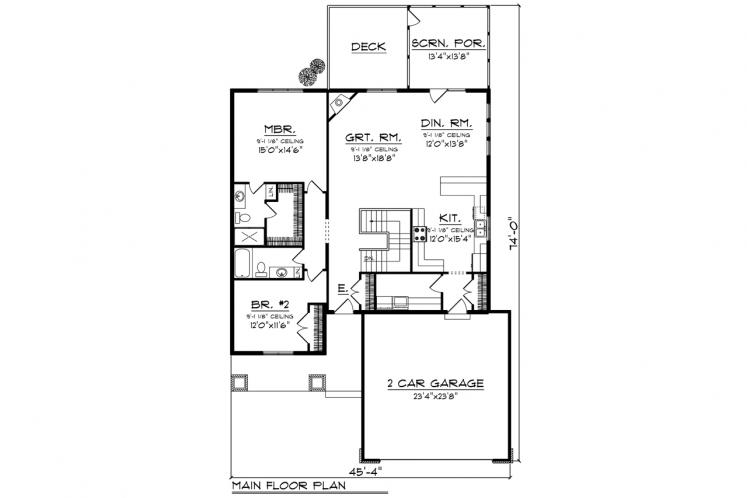 Traditional House Plan -  64445 - 1st Floor Plan