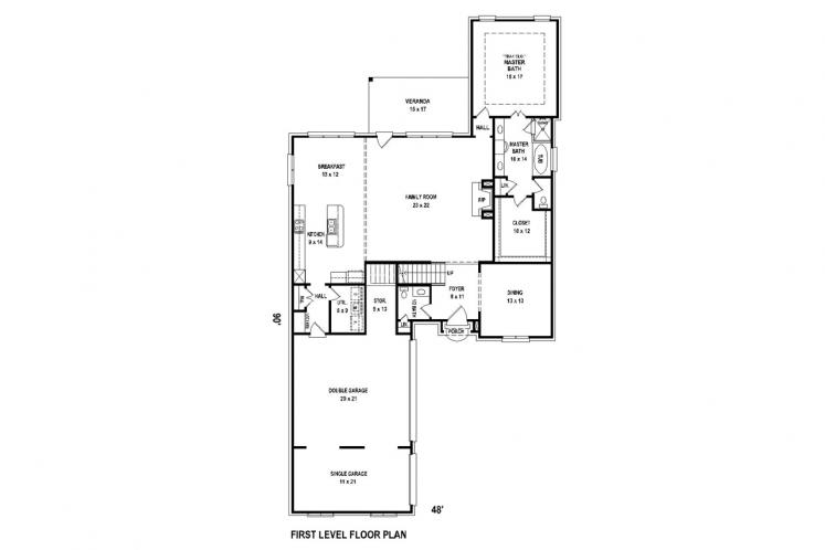 Classic House Plan -  64512 - 1st Floor Plan