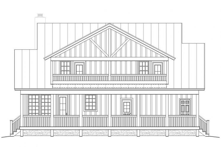 Country House Plan -  64548 - Rear Exterior