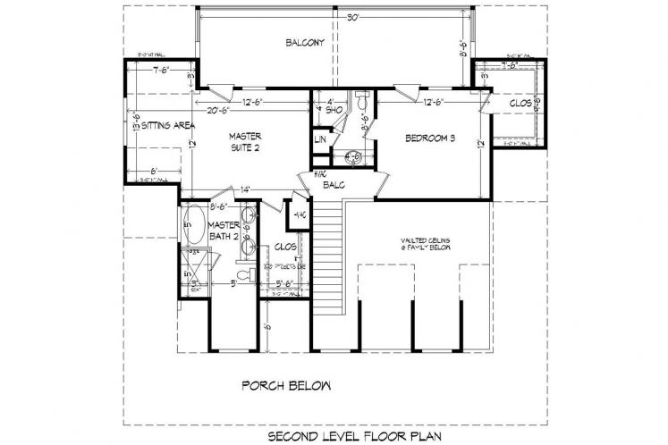 Lodge Style House Plan -  64548 - 2nd Floor Plan