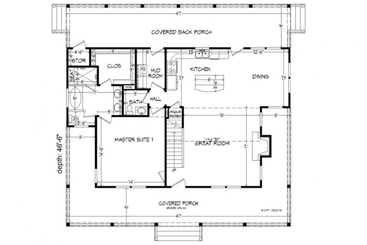 Country House Plan -  64548 - 1st Floor Plan