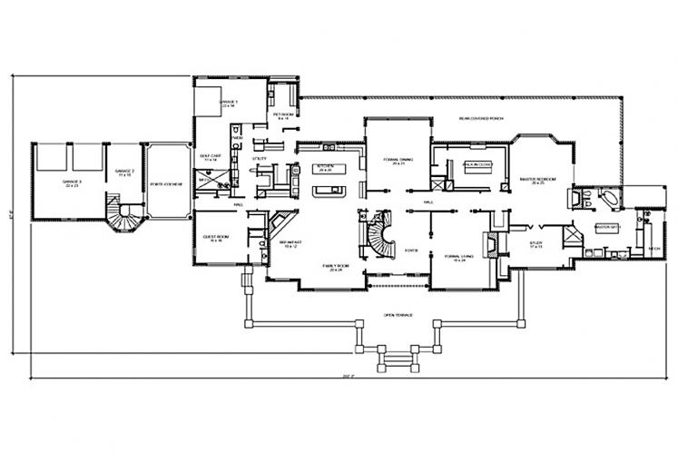 Classic House Plan - Bellevue 64558 - 1st Floor Plan