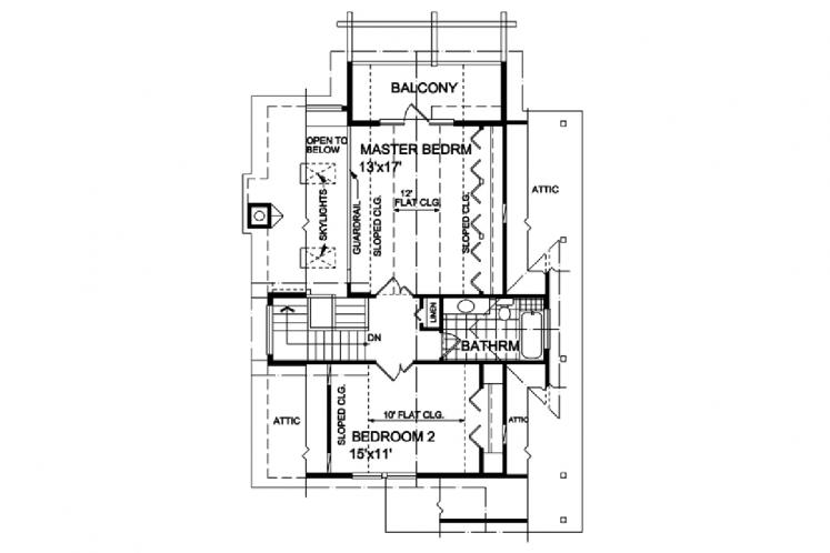 Cottage House Plan - Seagate 64588 - 2nd Floor Plan