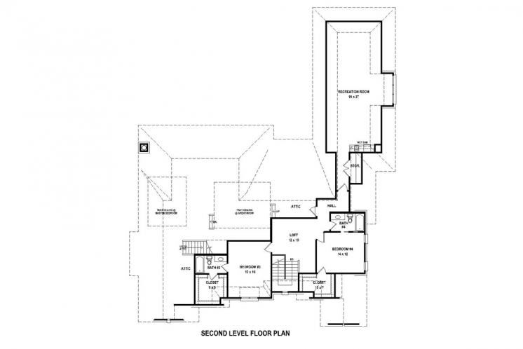 Traditional House Plan -  64631 - 2nd Floor Plan