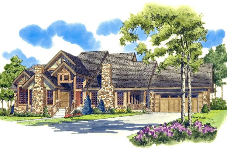 Lodge Style House Plan - Colter Ridge 64826 - Front Exterior