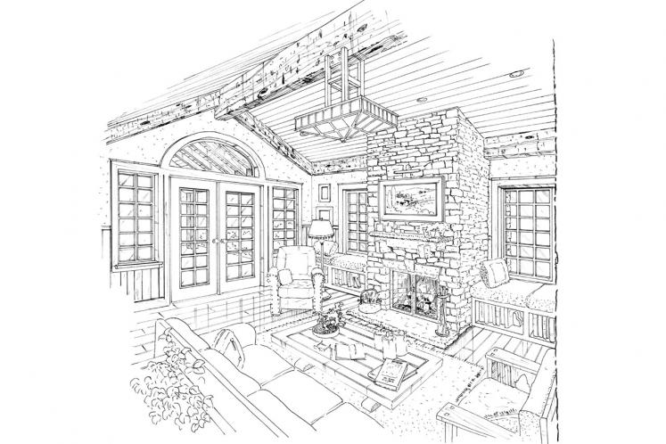 Lodge Style House Plan - Colter Ridge 64826 - Living Room